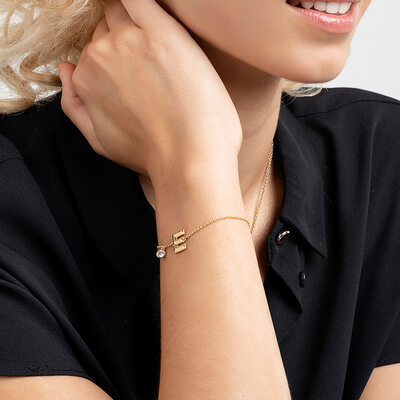 Bridesmaid Gifts - Personalized Simple Delicate Copper Cubic Zirconia Initial Bracelet