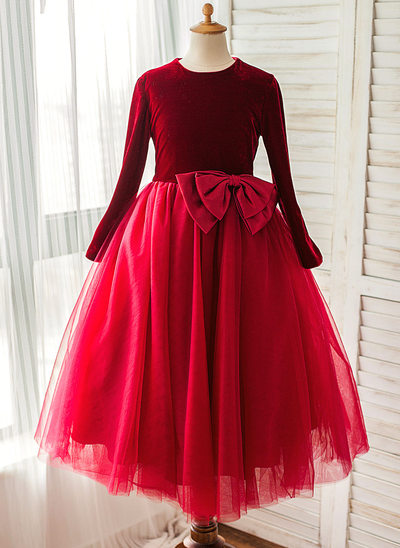 A-Line/Princess Tea-length Flower Girl Dress - Satin/Tulle Long Sleeves Scoop Neck With Bow(s)
