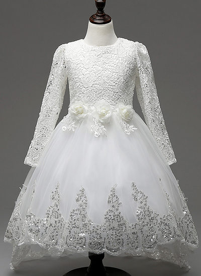 A-Line/Princess Knee-length/Asymmetrical Flower Girl Dress - Cotton Blends Long Sleeves Scoop Neck With Lace/Flower(s)/Sequins