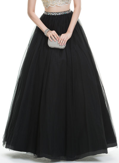 Ball-Gown Floor-Length Tulle Prom Skirt With Beading (018109706)