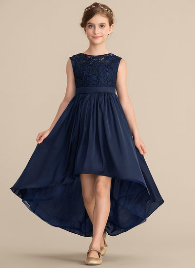 A-Line/Princess Scoop Neck Asymmetrical Lace Satin Chiffon Junior Bridesmaid Dress With Bow(s)