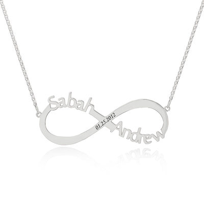 Custom Sterling Silver Infinity Three Name Necklace Infinity Name Necklace