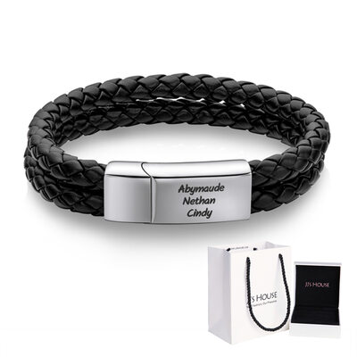 [Free Shipping]Custom Platinum Plated Men Braided Leather Bracelets - Gifts For Him (106250632)