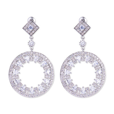 Ladies' Shining Copper/Platinum Plated With Pear Cubic Zirconia Earrings For Bridesmaid/For Mother