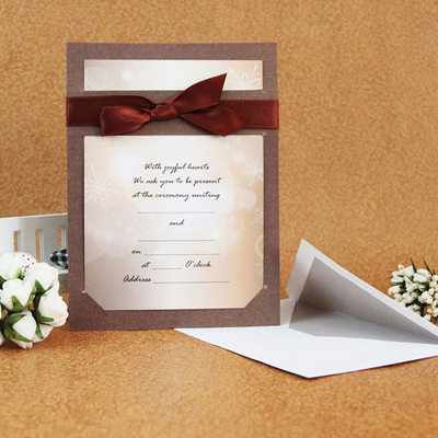 Classic Style Flat Card Invitation Cards With Ribbons (Set of 50)