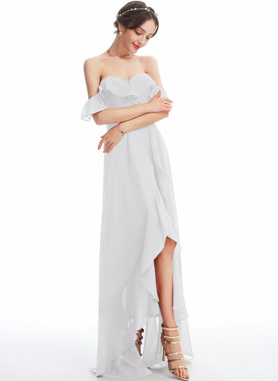 A-Line Off-the-Shoulder Asymmetrical Cocktail Dress With Ruffle Split Front