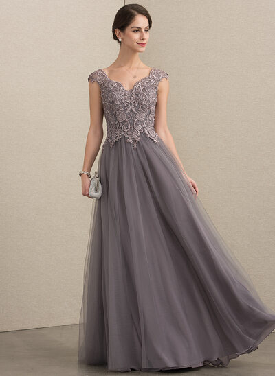 A-Line V-neck Floor-Length Tulle Lace Evening Dress With Sequins