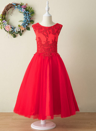 Ball-Gown/Princess Ankle-length Flower Girl Dress - Tulle/Lace Sleeveless Scoop Neck With Appliques