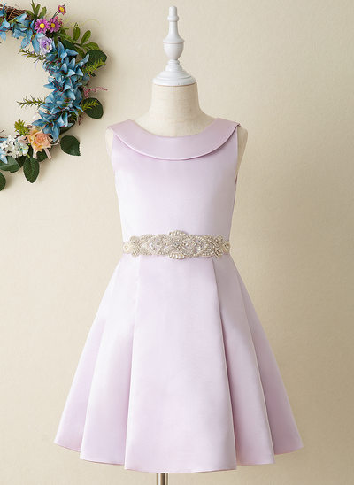 A-Line Knee-length Flower Girl Dress - Satin Sleeveless Scoop Neck