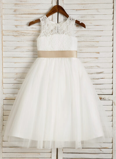 9f7419799 A-Line/Princess Tea-length Flower Girl Dress - Tulle/Lace Sleeveless
