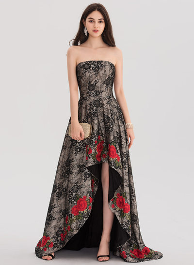 Ball-Gown Strapless Asymmetrical Sweep Train Lace Prom Dresses With Lace