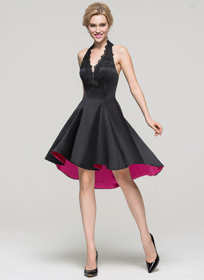 A-Line Halter Asymmetrical Satin Cocktail Dress With Lace Beading