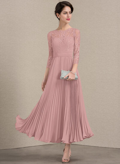 A-Line Scoop Neck Ankle-Length Chiffon Lace Mother of the Bri