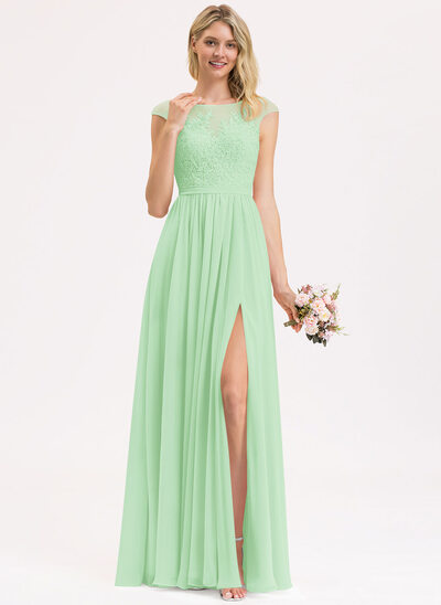A-Line Scoop Neck Floor-Length Chiffon Lace Bridesmaid Dress With Split Front