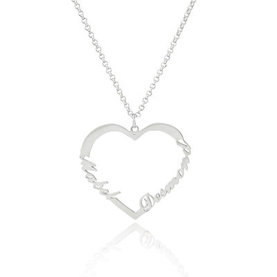 Custom Sterling Silver Heart Two Name Necklace - Christmas Gifts