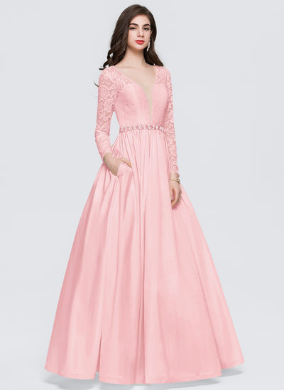 Ball-Gown V-neck Floor-Length Taffeta Prom Dresses With Beading Pockets