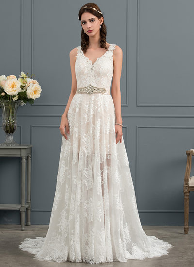 A-Line V-neck Court Train Lace Wedding Dress With Beading Sequins Bow(s)