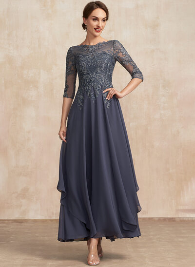 A-Line Scoop Neck Ankle-Length Lace Chiffon Mother of the Bride Dress With Cascading Ruffles