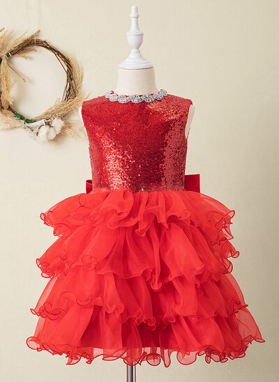 Ball-Gown/Princess Knee-length Flower Girl Dress - Organza/Sequined Sleeveless Scoop Neck With Bow(s)/Rhinestone/Back Hole