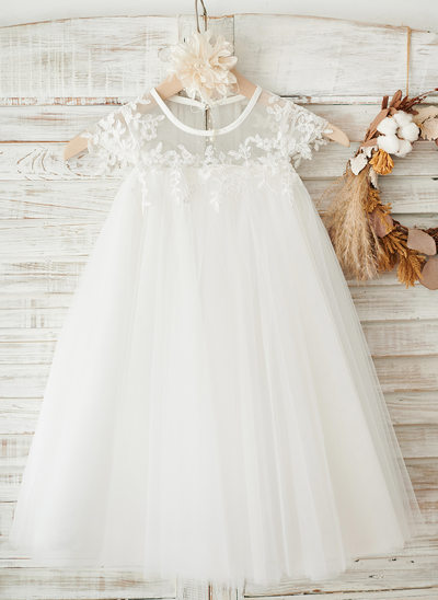 A-Line Knee-length Flower Girl Dress - Tulle Short Sleeves Scoop Neck With Lace