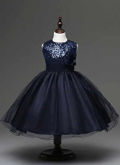 Ball-Gown/Princess Knee-length Flower Girl Dress - Tulle/Sequined/Cotton Blends Sleeveless Scoop Neck With Flower(s)
