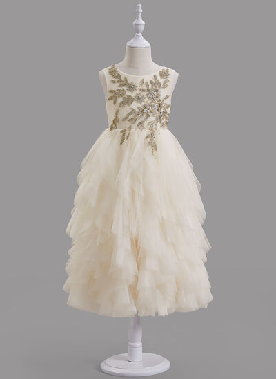 A-Line Tea-length Flower Girl Dress - Tulle/Lace Sleeveless Scoop Neck With Beading/V Back