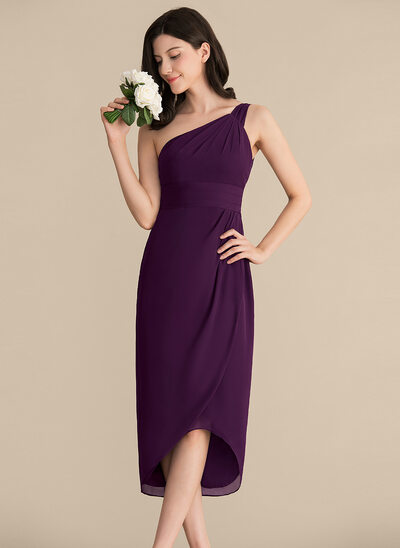 Sheath/Column One-Shoulder Asymmetrical Chiffon Cocktail Dress With Ruffle