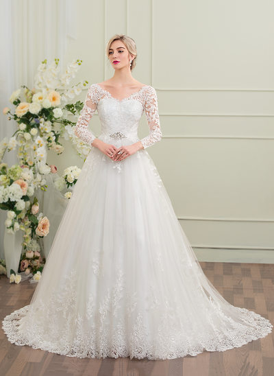 Ball-Gown V-neck Court Train Tulle Lace Wedding Dress With Beading Sequins