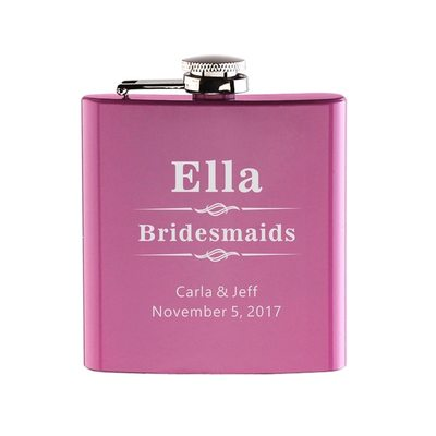 Bridesmaid Gifts - Personalized Vintage Stainless Steel Flask