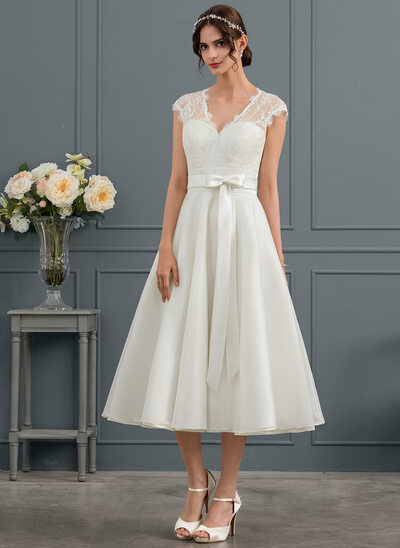 A-Line/Princess V-neck Tea-Length Satin Wedding Dress With Bow(s)