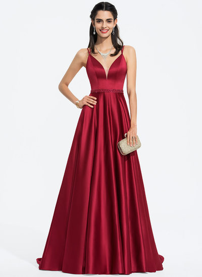 A-Line V-neck Sweep Train Satin Prom Dresses