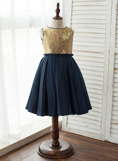 A-Line Knee-length Flower Girl Dress - Satin/Tulle/Sequined Sleeveless Scoop Neck