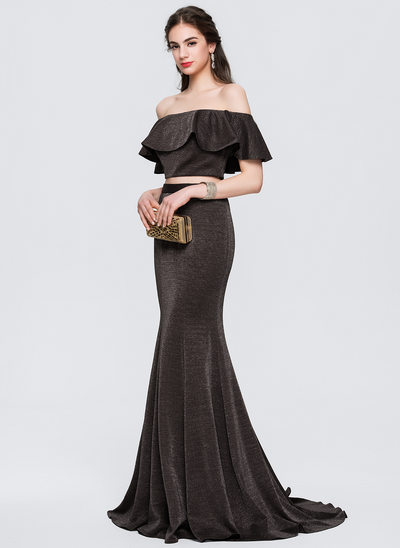 Trumpet/Mermaid Off-the-Shoulder Sweep Train Jersey Prom Dresses With Cascading Ruffles