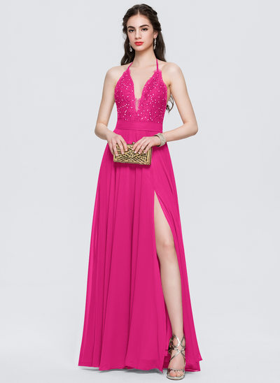 A-Line/Princess Halter Floor-Length Chiffon Prom Dresses With Split Front