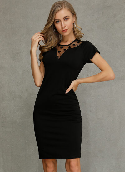 Sheath/Column Scoop Neck Knee-Length Cocktail Dress