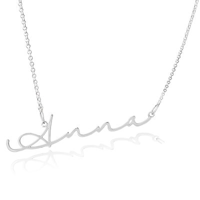 Christmas Gifts For Her - Custom Sterling Silver Signature Cursive Name Necklace