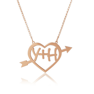 Custom 18k Rose Gold Plated Silver Heart Letter Two Name Necklace With Arrow