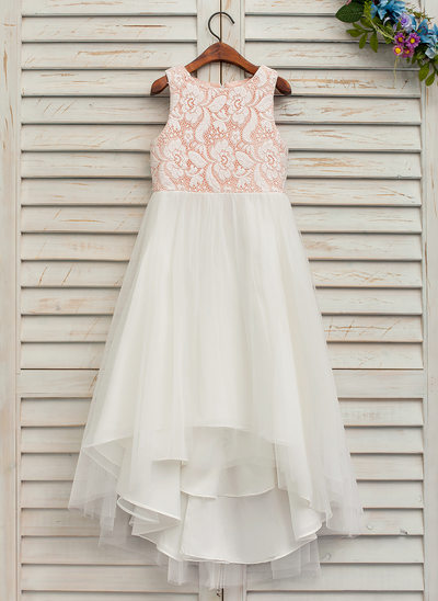 A-Line/Princess Asymmetrical Flower Girl Dress - Tulle/Lace 3/4 Sleeves Scoop Neck With Lace