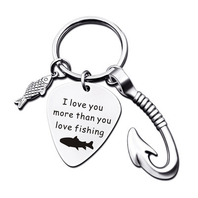 Groom Gifts - Personalized Classic Fish Hook Custom Engraved Stainless Steel Keychain