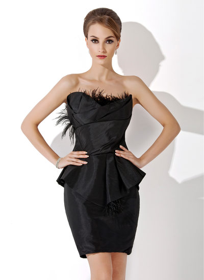 Sheath/Column Scalloped Neck Knee-Length Taffeta Cocktail Dress With Ruffle Feather