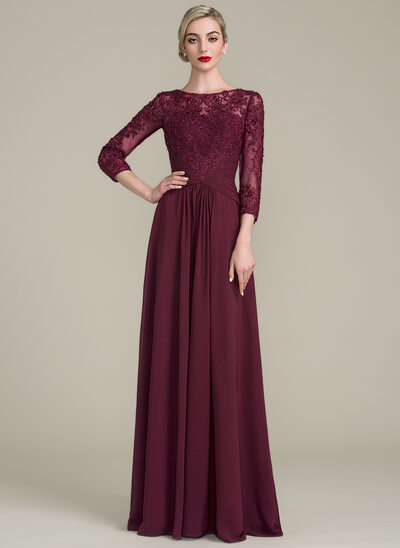 A-Line/Princess Scoop Neck Floor-Length Chiffon Lace Evening Dress With Ruffle Beading Sequins