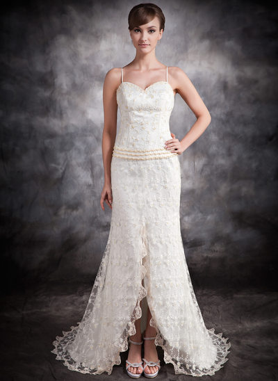 Trumpet/Mermaid Sweetheart Asymmetrical Lace Wedding Dress With Beading Split Front