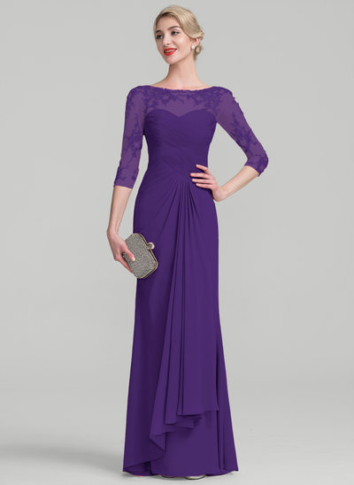 A-Line/Princess Scoop Neck Floor-Length Chiffon Lace Evening Dress With Beading Sequins Cascading Ruffles