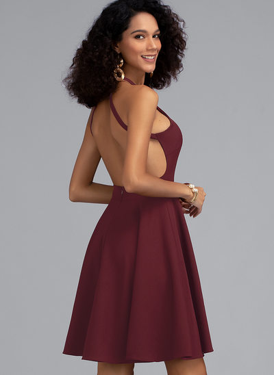 A-Line Scoop Neck Short/Mini Stretch Crepe Homecoming Dress
