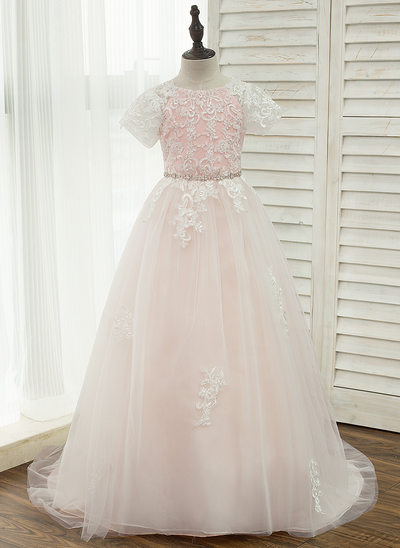 A-Line/Princess Court Train Flower Girl Dress - Tulle/Lace Short Sleeves Scoop Neck With Rhinestone/V Back