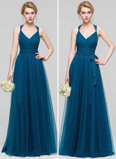 A-Line V-neck Floor-Length Tulle Prom Dresses With Ruffle Bow(s)