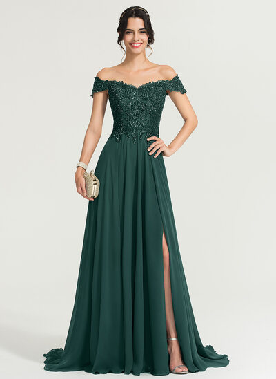 A-Linie Off-the-Schulter Sweep/Pinsel zug Chiffon Ballkleid mit Pailletten Schlitz Vorn