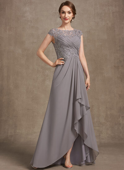 A-Line Scoop Neck Asymmetrical Chiffon Lace Mother of the Bride Dress With Sequins Cascading Ruffles