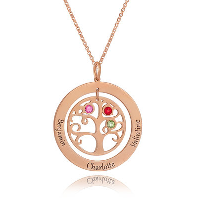 Custom 18k Rose Gold Plated Silver Engraving/Engraved Circle Three Birthstone Necklace With Family Tree - Valentines Gifts