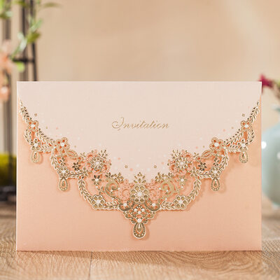 Personalized Top Fold Invitation Cards With Beads (Set of 50)